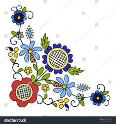 Embroidery Patterns for our Embroidery Project - Embroidery Patterns Polish Embroidery, Folk Embroidery, Paper Embroidery, Floral Embroidery, Embroidery Designs, Hand Embroidery Patterns Flowers, Folk Art Flowers, Flower Art, Bordado Popular