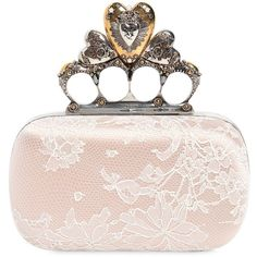 4f42eeaa4eb05 Shop Alexander Mcqueen Satin & Lace Heart Knuckle Box Clutch in WHITE at  Modalist