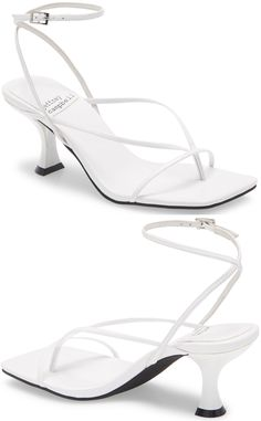 This strappy square toe sandal grounded by a flared heel is a suave and modern addition to any look. Embellished Sandals, Studded Sandals, Ankle Strap Sandals, Open Toe Booties, Lace Up Booties, Leather Ankle Boots, Calf Leather, Balmain Boots, Jeffrey Campbell Sandals