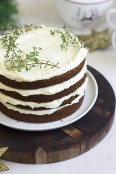 Gingerbread layer cake with lemon buttercream