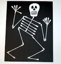 Q-tip Skelton- my students are making these this week to go with the book we are going to read!