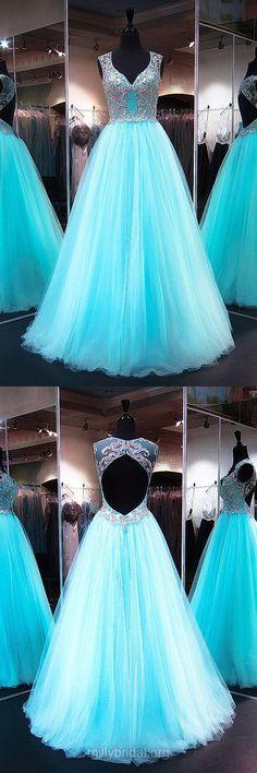 Light Sky Blue Prom Dresses, Long Prom Dresses, Princess Prom Dresses V-neck, 2018 Prom Dresses For Teens,  Tulle Prom Dresses Open Back Modest