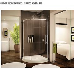 Eye-catching Sliding Shower Doors for Elegant Bathroom : Bathroom Design Near Bedroom Completed With 2 White Round Bath Mats And Sliding Glass Shower Door Corner Shower Units, Corner Shower Stalls, Corner Showers, Stall Shower, Dark Brown Bathroom, Small Bathroom With Shower, Small Bathrooms, Bathroom Ideas, Apartments