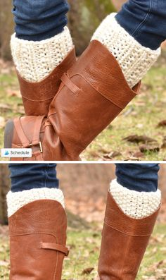 Free Knitting Pattern for Easy Double Kick Boot Cuffs - Two in one boot toppers features farrow rib on one end and seed stitch on the other, with stockinette between the two. Change your style just by turning the cuff around. You can also knit different colors at the different ends. Quick knit in super bulky yarn. Designed byKim Gourieux