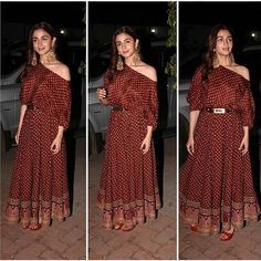 Alia Bhatt Varun Dhawan Sonakshi Sinha and Aditya Roy Kapur paint the set of the Rising Star red with their ever lasting love ! Pakistani Dresses, Indian Dresses, Indian Outfits, Eid Outfits, Latest Outfits, Dress Outfits, Indian Attire, Indian Wear, Indian Designer Outfits
