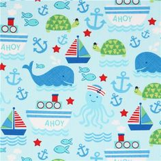 light blue ship whale octopus sea fabric by Timeless Treasures 1