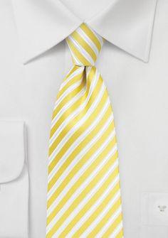 Striped Necktie in Bright Yellow, White, Silver, $10 | Cheap-Neckties.com