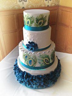 Round Wedding Cakes - Peacock themed wedding cake. Handpainted