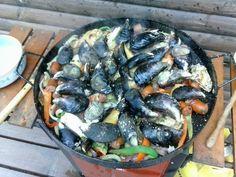 Disco de verduras, carnes y mariscos. Casa de Amá en Cocholgüe, por yo mismo