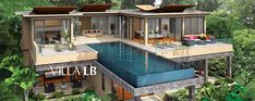 VILLA GRANDE (LB) - This luxury villa starts from a beautiful tropical Feng Shui-designed entrance with waterfalls and 2 car covered parking, it then leads directly onto the upper (main) level of your villa.