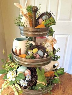 Sweet, creative and unique Easter decorating ideas You can give us ., Sweet, creative and unique Easter decorating ideas You can use the wreath all spring to give your home a very inviting look. Decoration Christmas, Diy Easter Decorations, Table Decorations, Holiday Decor, Easter Centerpiece, Table Centerpieces, Decoration Crafts, Diy Crafts, Centerpiece Ideas