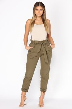 Going On An Adventure Cargo Pants - Olive – Fashion Nova Cargo Pants, Jogger Pants, Khaki Pants, Joggers, Grunge Outfits, Casual Outfits, Cute Outfits, Trousers Women, Pants For Women