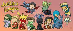 Green Arrow - Nidoran ♀ Aquaman - Magicarp Flash - Pikachu Green Lantern - Ralts Batman - Zubat Wonder Woman - Growlithe Blue Beetle - Heracross Booster Gold - Celebi Superman - Riolu Martian...