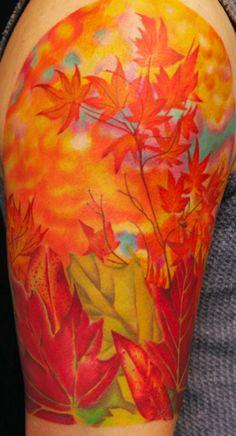 leaf tattoos | Autumn Leaf Half Sleeve Tattoo : Tattoos :