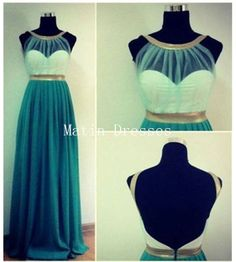 Custom Made Green Backless Long Prom Dresses by MatinDresses, $146.99