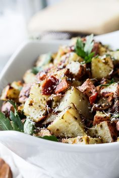 Roasted Pesto Bacon Potatoes will blow your mind with their tender, explosive flavor AND ease! Impressive side for special occasions (think Father's Day) but so easy you'll be making these at least once a week.
