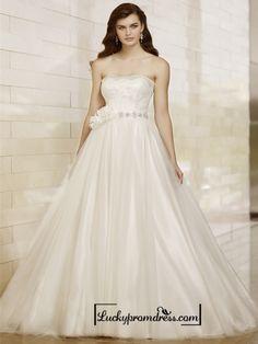 Strapless A-line Designer Wedding Dresses