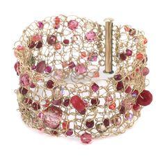 Crochet Bracelet Wire Wrapped Jewelry, Wire Jewelry, Jewelry Crafts, Beaded Jewelry, Handmade Jewelry, Beaded Bracelet, Crochet Bracelet Tutorial, Tutorial Crochet, Crochet Metal