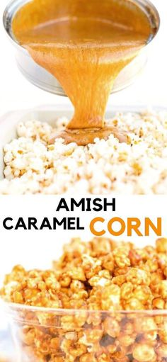 Amish Caramel Corn - Dry roasted peanuts along with perfectly coated caramel popcorn, the perfect sweet and salty snack! Caramel Corn Recipes, Popcorn Recipes, Candy Recipes, Sweet Recipes, Dutch Recipes, Desserts Caramel, Caramel Treats, Appetizer Recipes, Snack Recipes