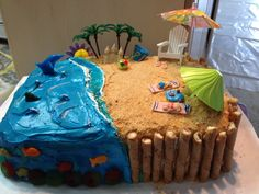 Beach Theme Cake from Cake Central A smaller version would be cute