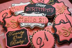 Birthday Cookies 21st by TreatPetite on Etsy