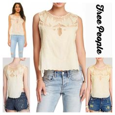 """FREE PEOPLE Boho Crochet Tank Top FREE PEOPLE Boho Crochet Tank Top RETAIL PRICE: $78  NEW WITH TAGS   * Crew neck w/crochet net yoke * Embroidered & scalloped edge details  * Pullover style  * Tank, sleeveless, & slightly cropped silhouette * Scalloped hem; Approx 23"""" long Fabric: 100% cotton Color: Yellow # crop  No Trades ✅ Offers Considered*✅ Bundle Discounts ✅ *Please use the blue 'offer' button to submit an offer. Free People Tops Crop Tops"""