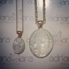 Cadena medalla en madre perla Virgen de Gpe