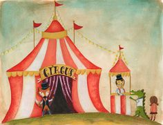 The circus is in Town 8 x 10 print by louandboo on Etsy, $30.00