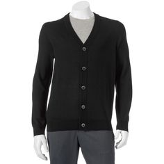 Big & Tall Apt. 9 Modern-Fit Marled Merino Cardigan Sweater ($42) ❤ liked on Polyvore featuring men's fashion, men's clothing, men's sweaters, black, mens cardigan sweaters, mens marled sweater, mens merino sweater, mens sweaters and mens merino wool sweater