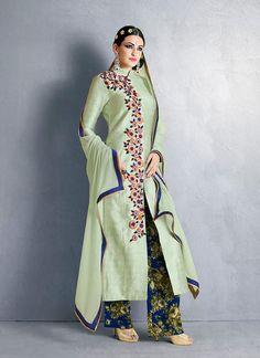 Achkan Style Incredible Salwar Kameez in Green & Silk Fabric