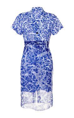 Klein Blue Crack Print Clarice Dress by Jonathan Saunders for Preorder on Moda Operandi