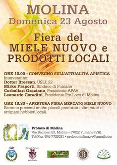 A Molina, in Valpolicella, domenica 23 agosto 2015 è il momento della Fiera del Miele Nuovo e dei Prodotti Locali @gardaconcierge
