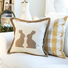 Fun and easy craft: make this DIY Burlap Easter Bunny Pillow.