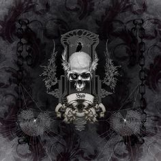Awesome skull with crow, black and white