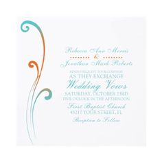 Orange and Teal Faded Flourish Wedding Invitation  This classy invitation features orange and teal blue swirls with a simple flourish and elegant customizable text. This beautiful and classic wedding invitation is great for weddings with a tropical summer theme or seaside beach feel.