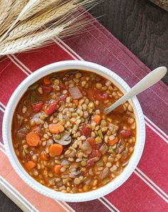 Vegan Lentil Barley Stew from Making Thyme for Health