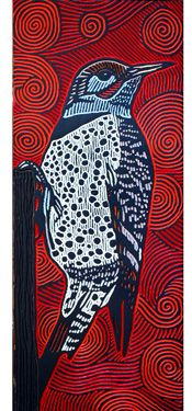 LISA BRAWN WOODCUT Flicker--Flicker is the Native American zodiac sign for people born in July