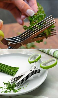 Herb Scissors // Cuts Herbs 5 Times Quicker #cooking #kitchen #gadgets