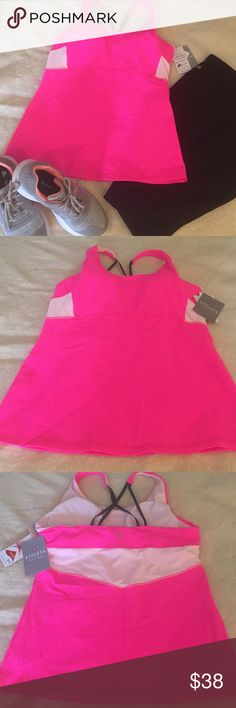 NWT Athleta Workout Tank Size L Brand New - Never worn Athleta tank with built in bra. Lycra Sport!  Awesome pink color- perfect for Breast Cancer Awareness Month!💕 Athleta Tops Tank Tops