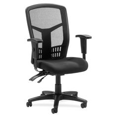 Lorell 86000 Series Executive Mesh Back Chair - Item # LLR86200 - Mesh back and mesh fabric seat. Ergonomically designed. Nylon 5-star base with casters. Pneumatic seat adjustment. 360-degree swivel. Tilt and asynchronous 3-lever control.