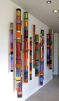 The Artwork of Myra Burg – Oboes – Linear Installations - Modern Wall Sculptures, Sculpture Art, Art Diy, Craft Art, Craft Ideas, Stick Art, Painted Sticks, Installation Art, Textile Art