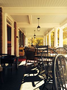 Morning coffee on the front porch of the Kedron Valley Inn. South Woodstock, VT