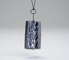Jessica Turrell  Pendant: Script 2009  Oxidized silver, vitreous enamel, copper