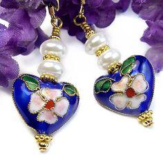 Cloisonne Heart Earrings Floral White Pearls Handmade Valentine's Day   PrettyGonzo - Jewelry on ArtFire