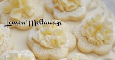 What could be more lovely than Frilly Lemon Cookies ata Tea Party ? I adore Lemon Meltaway Cookies and have been making them . Lemon Desserts, Cookie Desserts, Cookie Recipes, Delicious Desserts, Yummy Food, Lemon Cookies, Yummy Cookies, Cupcake Cookies, Top Recipes