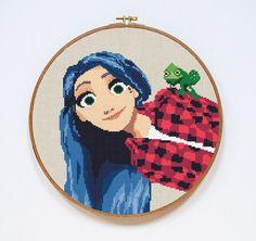 Rapunzel Cross Stitch Pattern Tangled Disney por Stitchering