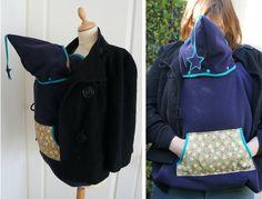 Cape de portage : à mettre sur le porte bébé. La maman garde peut garder sa veste de tous les jours, en la laissant ouverte. Et bébé est bien au chaud.