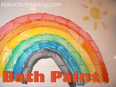 To make the paint, mix shaving cream with a few drops of food coloring.  Fill a muffin tin with several colors and hand your little one a basting brush for painting the tub and tiles.
