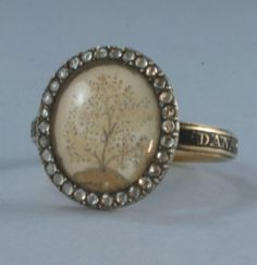 Georgian Gold Mourning Ring with Diamonds 18th Century-inscribed with Dan Gass and death date