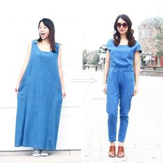 Want to learn how I made this jumpsuit from a thrifted denim maxi dress for $4? Go to http://ift.tt/1B5ZuBM or link in profile for a tutorial! #sarahsDIY  I was pretty nervous with starting this project because:  1. I wasn't sure if I'd have enough fabric. I had to use a scrap fabric for the other side of the waistband because I didn't have enough. If I had more fabric I would have loved to make a thick strap waist-tie in the front. Now I need to make another jumpsuit! 2. I've made pants…